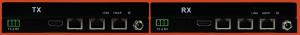 Front & Back Panel Views of 100m HDBase-T TX & RX, Horizontal