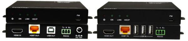 Front & Back Panel Views of 100m HDBase-T TX & RX w/ USB 2.0, Horizontal, Small