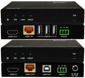 Front & Back Panel Views of 100m HDBase-T TX & RX w/ USB 2.0