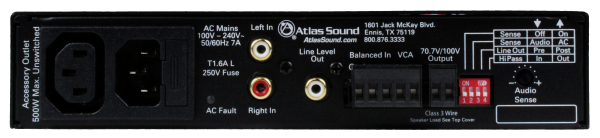 Back Panel View of Atlas 100W Audio Amplifier