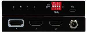 Front & Back Panel Views of 1x2 HDMI Splitter