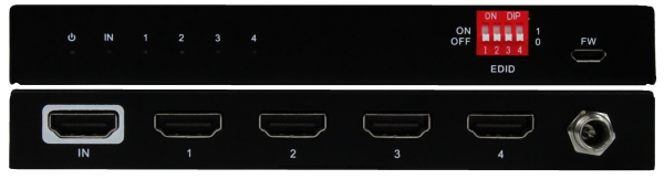 Front & Back Panel Views of 1x4 HDMI Splitter
